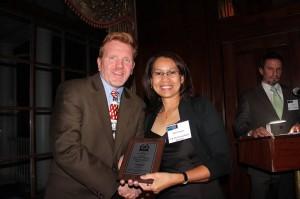 Tim congratulates Novie. Photo: Courtesy of the Maryland Building Industry Association