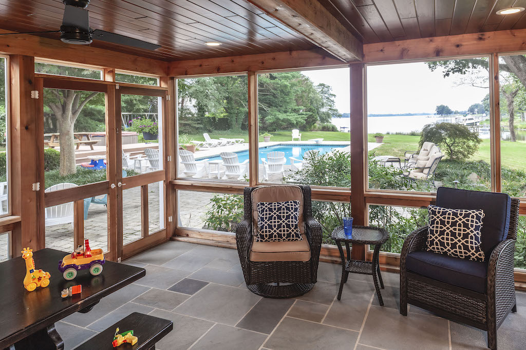 outdoor living space, interior of screened-in porch