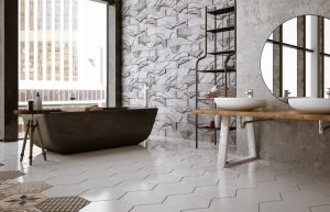 modern bathroom with tile bathroom floor