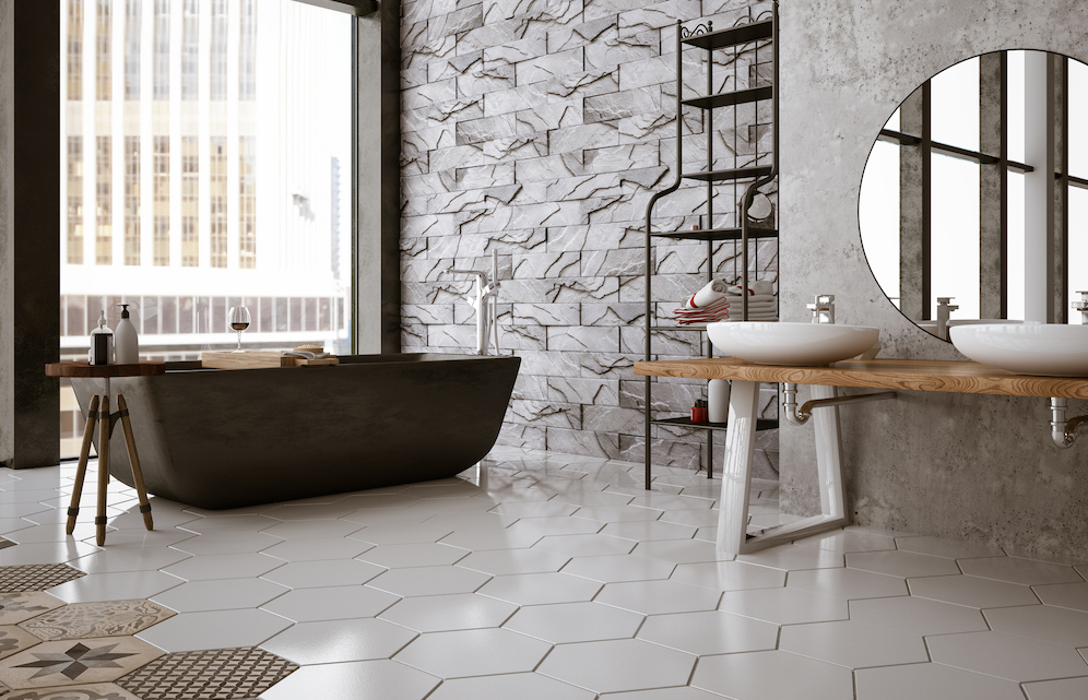 modern bathroom with tile bathroom floor