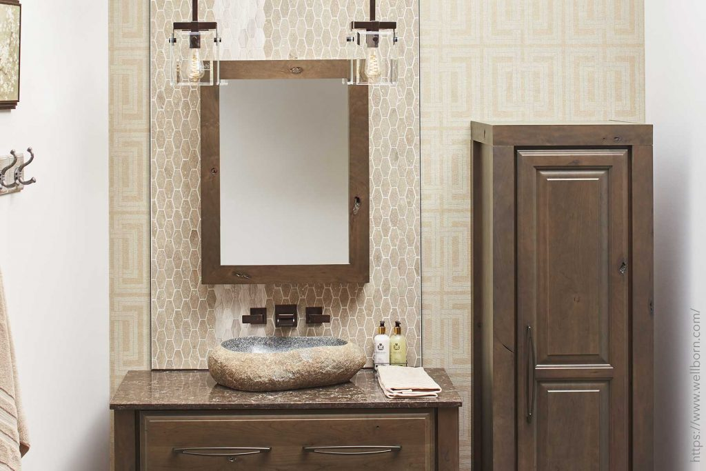 Powder room with unique light fixtures and wall coverings