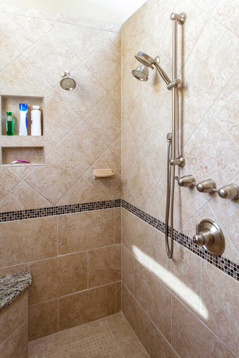 Walk-in shower with seat