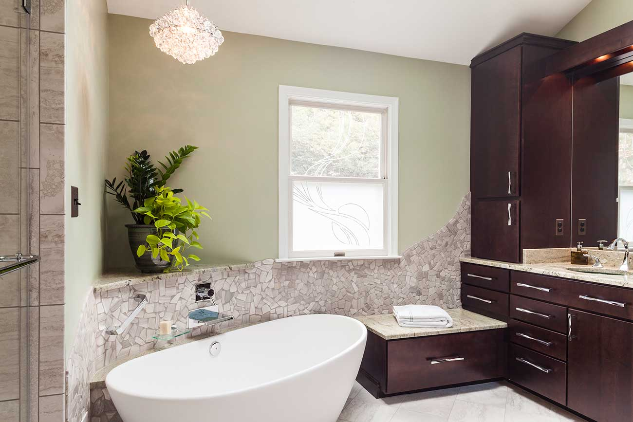 Master bath remodel with small laundry t w ellis for Bathroom remodel 85382