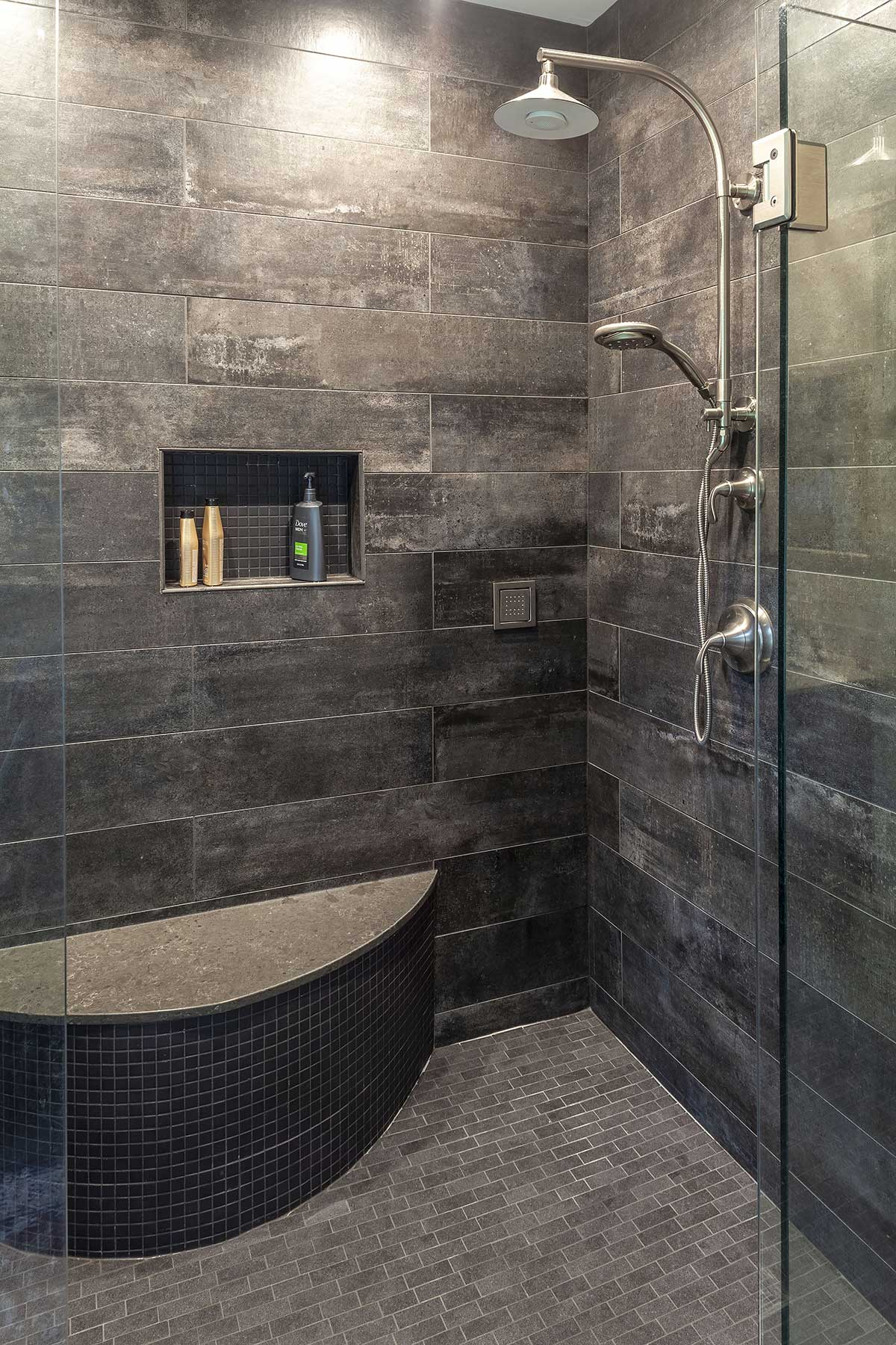 Shower seat, nook, and tile