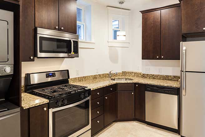 Kitchen remodeled with energy efficiency and other green building standards in mind