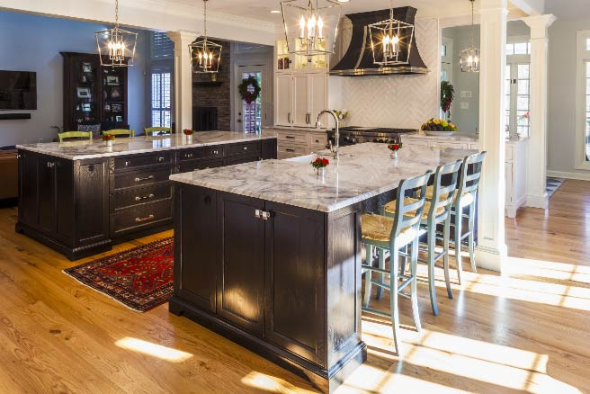 Baltimore kitchen remodeled adding two islands