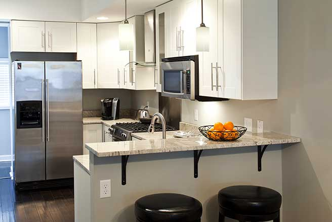 Small kitchen in Baltimore City remodeled for beauty and function